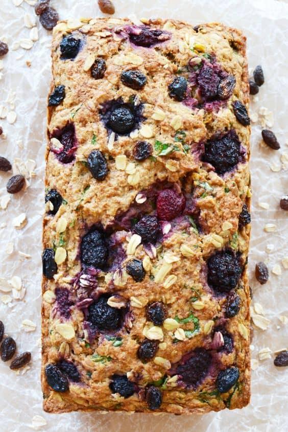 Vegan fruit breakfast loaf cake.