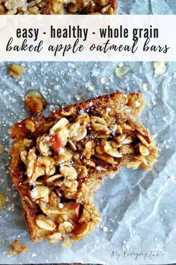 Healthy Baked Apple Oatmeal Bars