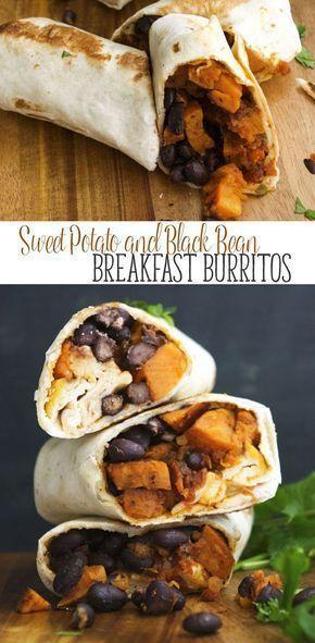 Sweet Potato and Black Bean Breakfast Burritos