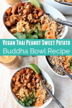 Vegan Thai Peanut Sweet Potato Buddha Bowl Recipe