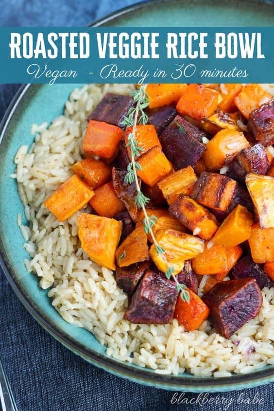 Vegan Rice Bowl - Roasted Vegetable Rice Bowl
