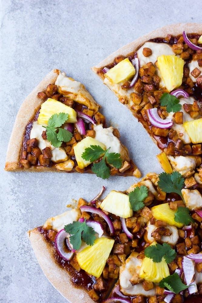 Hawaiian BBQ Vegan Pizza