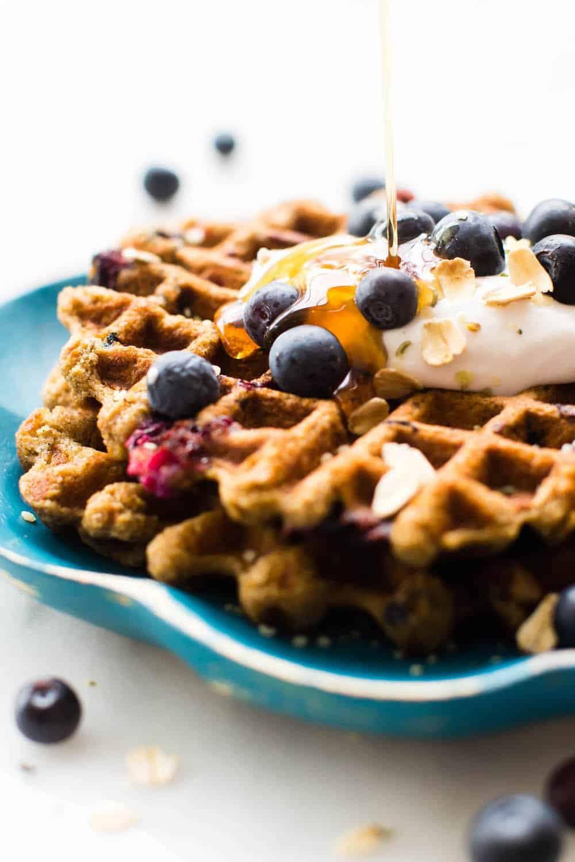 Blueberry Oat Flour Waffle