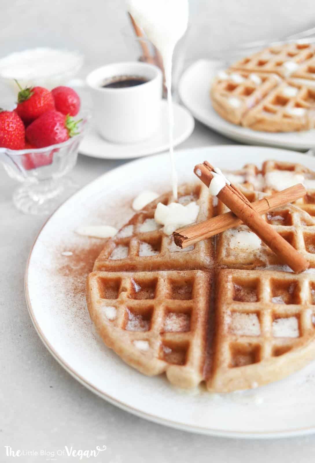 Vegan cinnamon roll waffles recipe