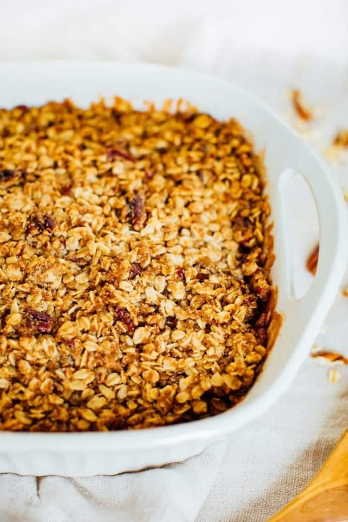 Healthy Apple Crisp with Oatmeal Pecan Topping