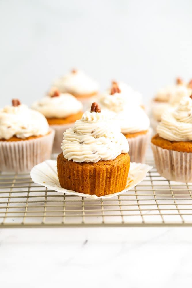 Vegan Pumpkin Cupcakes with Maple Pecan Frosting